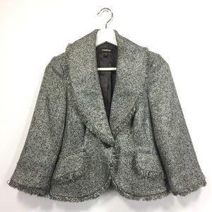 Bebe 2 Blazer Gray Tweed Fringe 3/4 Sleeves
